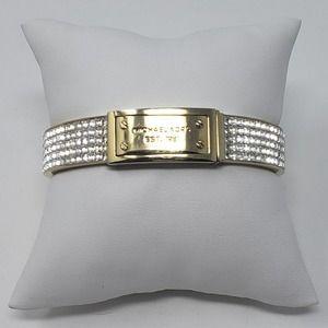 Michael Kors Pave Plaque Bangle Bracelet Gold Tone
